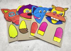 เกมการศึกษาปฐมวัย - หุ่นถุงกระดาษสัตว์ 1 ชุดเลือกได้ 10 หน้า (T18 01 )