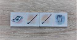 สื่อการเรียนการสอน -T03-08 เกมภาพต่อปลาย (โดมิโน) อุปกรณ์ในการรับประทานอาหาร 16 ชิ้น