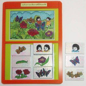 T05-13 เกมสังเกตรายละเอียดภาพผีเสื้อกับดอกไม้