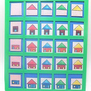 T14-12 เกมตารางสัมพันธ์ภาพบ้านกับหลังคา (รูปเรขาคณิต)
