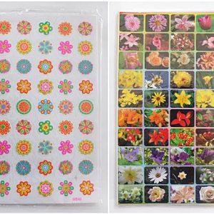 T19-18(2) สติ๊กเกอร์ภาพ ดอกไม้ ขนาด 17 x 26.5 ซม.